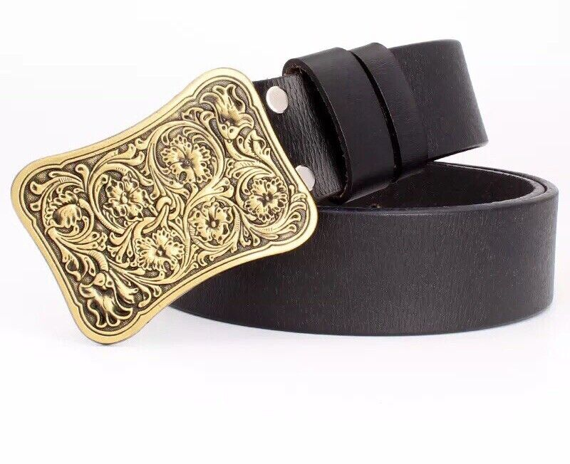 Mens Arabesque Cowboy Biker Punk Rock Outlaw Fashion Belt And Buckle