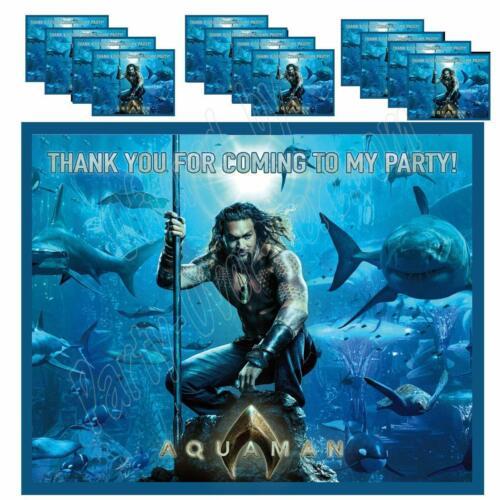 AQUAMAN AQUA MAN Party Favor Boxes Thank you Decals Stickers Loots Gable Bags 12