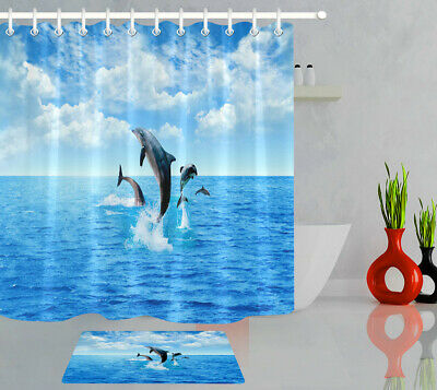 Bathroom Shower Curtain Set Polyester Fabric Waterproof Decor Blue Sea Dolphin