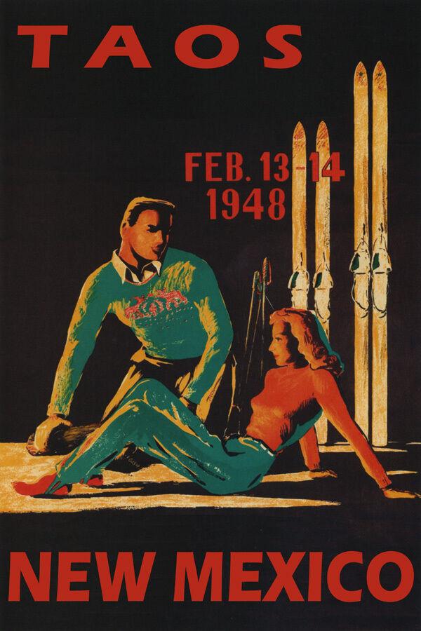 WINTER SPORT 1948 TAOS NEW MEXICO COUPLE SKI TRAVEL SKIING VINTAGE POSTER REPRO