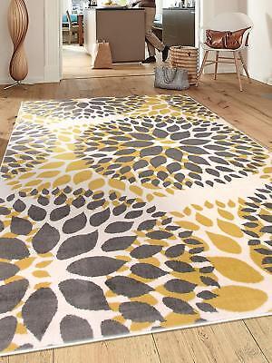 8 X 10 Yellow Gray Cream Bold Colors Area Rug Contemporary Circles Design Deco Ebay