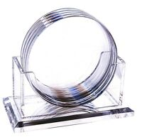 Set Of 4 Clear Coasters And Holder, High-grade Acrylic, By Huang