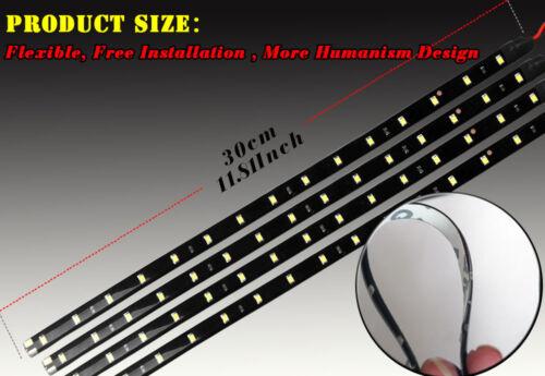 10pcs White 30CM//15 LED Flexible Car Motorcycle Boat Light Strip Waterproof 12V