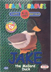 TY Beanie Babies BBOC Card - Series 2 Birthday (BLUE) - JAKE the Mallard Duck