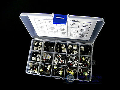 15value 48pcs 14x1 16x2 RV12 RV17 Rotary Switch Radio Potentiometer Box kit 5