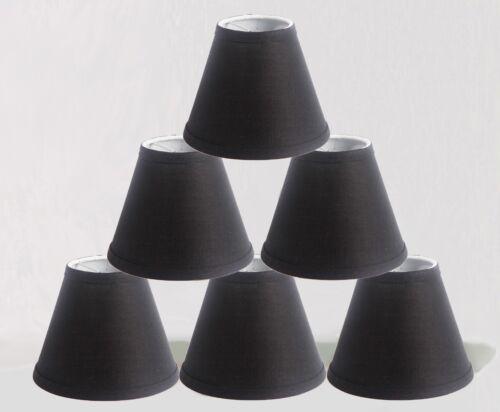 "Urbanest Linen Chandelier Mini Lamp Shades hardback 3x6x5/"",Black Set of 6"