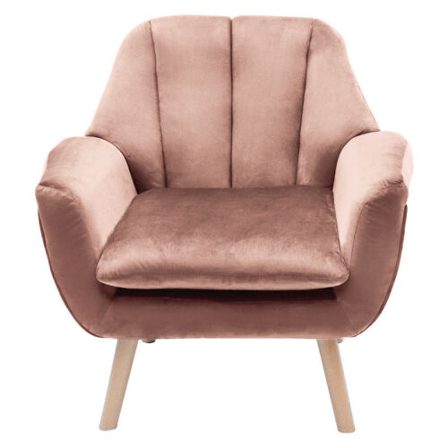 Velvet Pink Armchair Reading Tub Chairs Cushioned Seat Lounge Reference Room