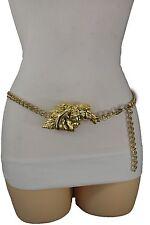 Women Belt Hip High Waist Black Western Gold Metal Chain Compass Buckle M L XL