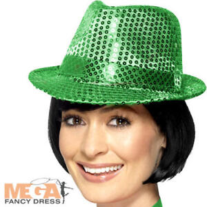 Green-Sequin-Trilby-Hat-Adults-Fancy-Dress-Showtime-St-Patricks-Day-Costume-Acc