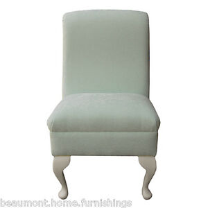 Details about Small Occasional Bedroom Chair Duck Egg Fabric Living Room  Accent Queen Anne UK