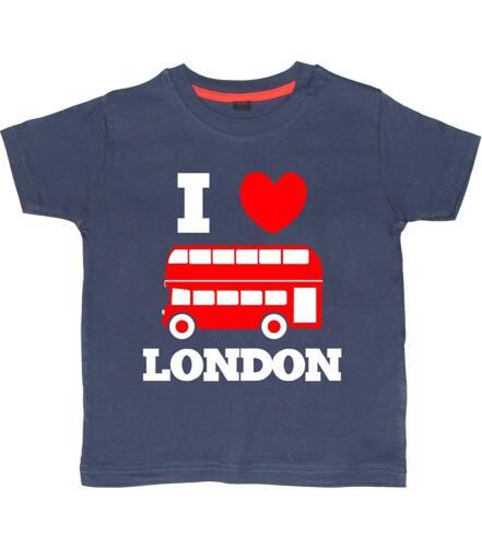 """I Love London Bus avec texte /""""Childrens Fun T-shirts Avec Rouge /& Blanc Imprimé"""