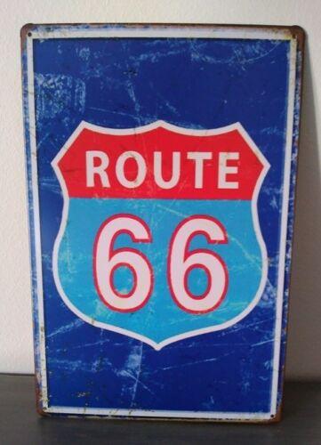 Rare plaque tôle ROUTE 66 US style EMAIL 20X30 VINTAGE HARLEY DAVIDSON MOTO bleu
