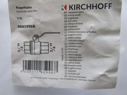 Kugelhahn Absperrventil  Absperrhahn Messing Gewinde nach DIN 3//4 Zoll  IG