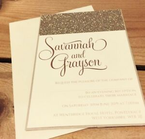 Savannah champagne gold glitter single card invitation sample image is loading 039 savannah 039 champagne gold glitter single card stopboris Image collections