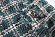 RRL Double RL XS Green Red Plaid Cotton Flannel Work Shirt Western Ralph Lauren