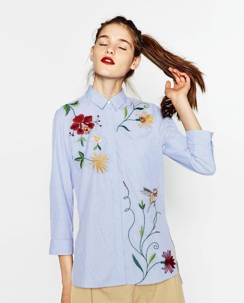 NEW ZARA Blau STRIPED POPLIN SHIRT WITH FLORAL embroidery XS