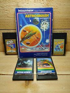 Mattel-Intellivision-Video-Game-Lot-Star-Wars-Q-Bert-Astrosmash-Demon-Attack