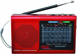 Supersonic SC1080BT Rechargeable Pocket Radio Red