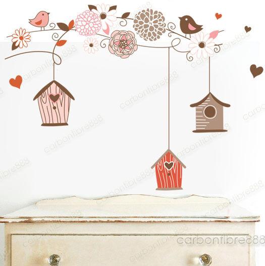 Cage D'oiseau Arbre Fleur Autocollant Mural Papier Peint Mural Décoration Maison