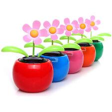 Hot Home Car Flowerpot Solar Power Flip Flap Flower Plant Swing Auto Dance Toy Q