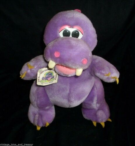 "12 "" Vintage 1993 Cousin Clyde Viola Rosa Dinosauro Dino Peluche Animale Peluche"