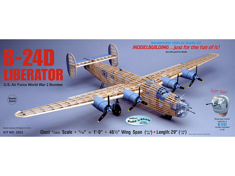 Guillows 2003 - B-24D Liberator 1 28 Scale Balsa Wood Kit 48 1 2  Wing Span