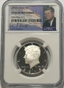 2017 S NGC PF69 ULTRA CAMEO PROOF SILVER KENNEDY HALF DOLLAR TROLLEY LABEL 50C