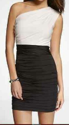 Express One Shoulder Pencil Dress 4 White Black Ruched Mini L6