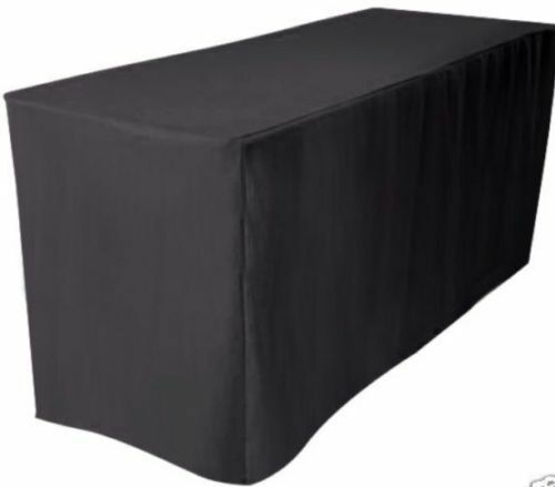 Tablecloth Market 6u0027 Fitted Polyester Black Tablecloth For Events