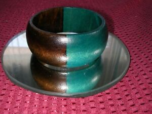 f223336ffc0 Image is loading Wide-Solid-Wood-Chunky-Turquoise-Stained-Vintage-Bangle-