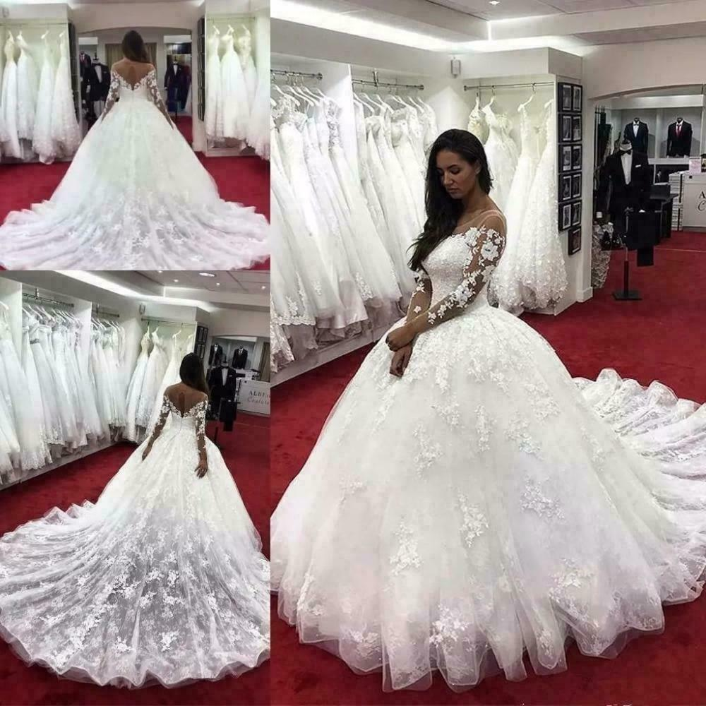 Long Sleeves Wedding Dresses Lace Appliques Sweep Train Length Bridal Ball Gowns