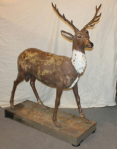 Image Is Loading Antique Life Size Cast Iron Figural Deer On