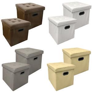 2x-Stauraum-Sitzhocker-Kunstleder-Faltbar-Sitzwuerfel-Aufbewahrungsbox-Hocker