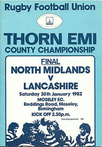 NORTH MIDLANDS v LANCASHIRE RUGBY UNION COUNTY FINAL PROGRAMME 30 JANUARY 1982 - North Shields, United Kingdom - NORTH MIDLANDS v LANCASHIRE RUGBY UNION COUNTY FINAL PROGRAMME 30 JANUARY 1982 - North Shields, United Kingdom