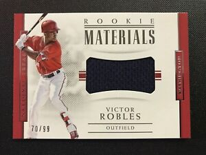 sports shoes 06df0 62fa5 Details about 2018 National Treasures VICTOR ROBLES Rookie Materials RC  Jersey #/99 NATIONALS