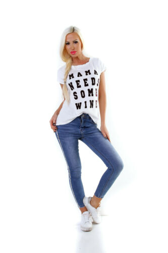 T-shirt Femmes shirt manches courtes MAMAN Shirt Pull Proverbes sort chemisier top jaune blanc