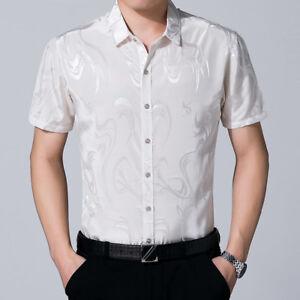 Men-Faux-Silk-Satin-T-shirt-Short-Sleeve-Business-Shirts-Floral-Blouse-Thin-Tops