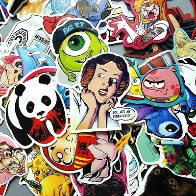 100 pcs Skateboard Stickers Graffiti Laptop Sticker Luggage Car Decals Halloween