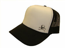Skull & Crossbones Poison Side Logo Black & White Mesh Trucker Cap Caps Hat Hats