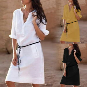 Femme-Chemise-Robe-a-Manches-Courtes-Shirt-Top-V-Col-Robe-Decontracte-Hauts