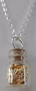 24-in-Silver-Chain-of-GOLD-leaf-flakes-in-X-inch-glass-vial-sealed-with-cork