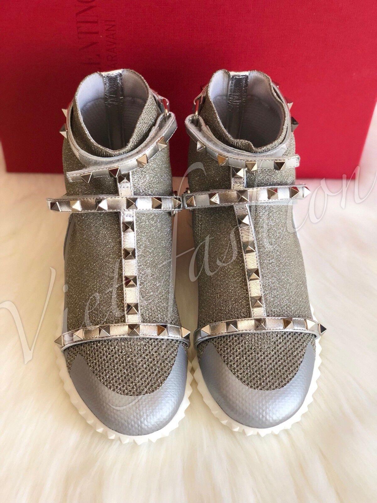 NIB Knit  995 Valentino Silber Rockstud Knit NIB Stiefel Größe 35 0445ef