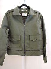 NWT $365 rag & bone Jean Cotton W/Leather Trim Green Army Pump Zippered Jacket-L