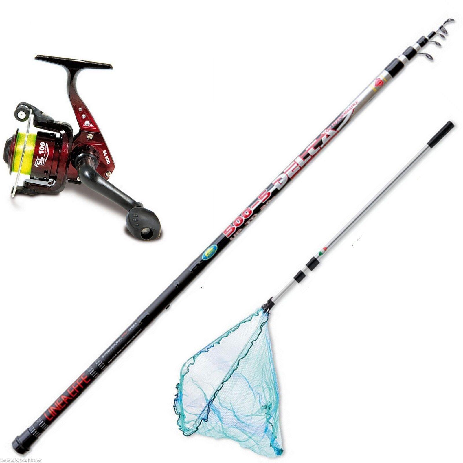 Canna bolognese mulinello lago filo e guadino kit pesca passata lago mulinello mare F1546 47d0b8