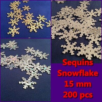 200 x Snowflake Sequins 15 mm - Hologram Silver, Hologram Gold, Silver
