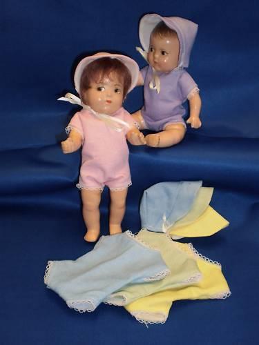 """5 Play suits /& bonnets DIONNE QUINTUPLETS 11/"""" dolls Quints clothes Vintage look"""