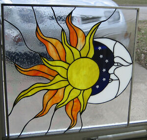 Natures Elements Stained Glass Windows Panel Sun Moon Ebay