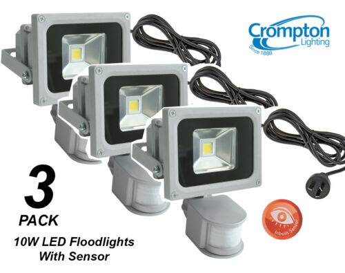 Cord /& Plug Motion Sensor 3 x Crompton 10W LED Outdoor Security Floodlights