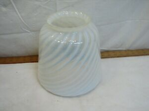 Vintage Opalescent White Swirl Glass Ceiling Light Fixture Shade Lamp Globe Bell