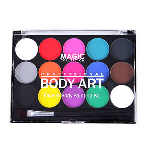 Details About Face Body Art Paint 15 Color Set For Party Club Festival Stage Makeup With Brush